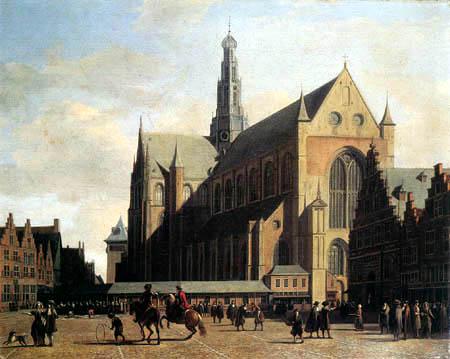 Gerrit Adriaensz. Berckheijde (Berckheyde) - The large market in Haarlem