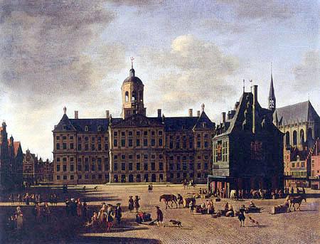 Gerrit Adriaensz. Berckheijde (Berckheyde) - Das Rathaus in Amsterdam und die Nieuwe Kerk
