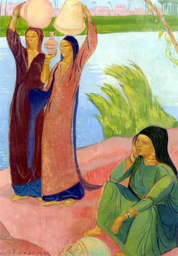 Émile Bernard - Drei Frauen am Flußufer
