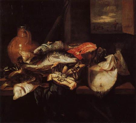 Abraham H. van Beyeren - Stillleben mit Fischen und Krug