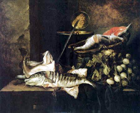 Abraham H. van Beyeren - Stilleben mit Fischen