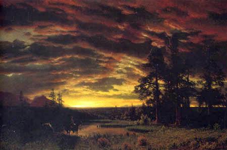 Albert Bierstadt - Prairie, Le soir