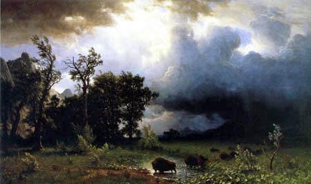 Albert Bierstadt - Buffalo Trail, La tempête
