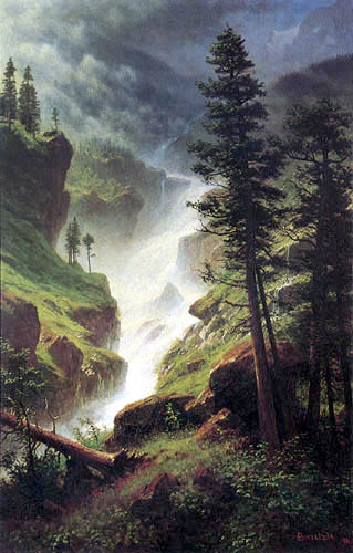 Albert Bierstadt - Wasserfall in den Rocky Mountains
