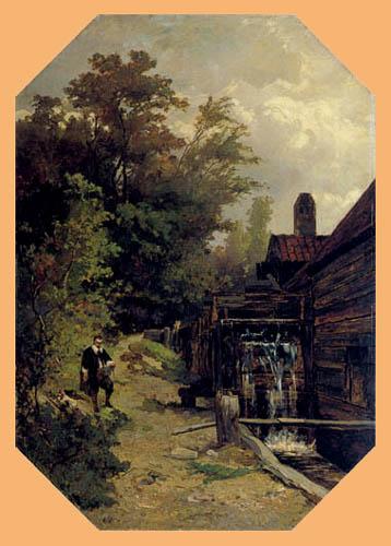 Albert Gerard Bilders - Van Ruisdael painted a water mill