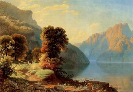 George Caleb Bingham - Vue sur un lac de montagne