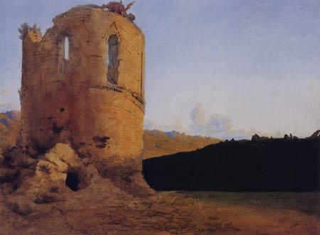 Karl Eduard Blechen - Turmruine mit einem Drachen
