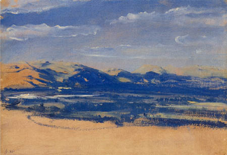 Karl Eduard Blechen - Wide Valley and Blue Mountains