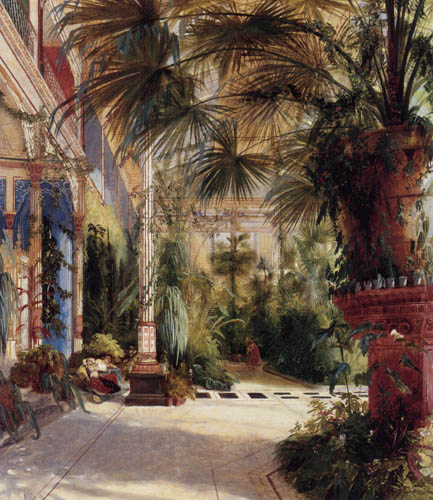 Karl Eduard Blechen - The inside of the palm house