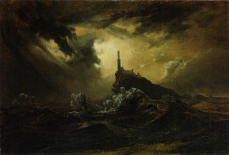 Karl Eduard Blechen - Light House by stormy Sea