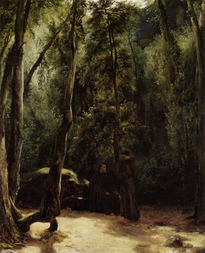 Karl Eduard Blechen - Two monks in the park of Terni