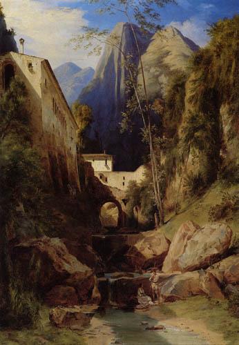 Karl Eduard Blechen - A Mill Valley near Amalfi