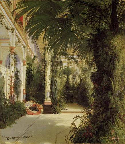 Karl Eduard Blechen - The inside of the palm house