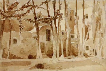 Karl Eduard Blechen - Trees and houses