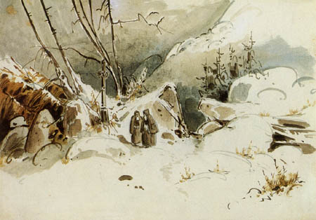 Karl Eduard Blechen - Two monks in winter