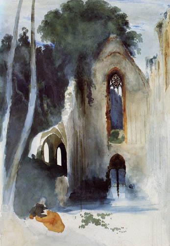 Karl Eduard Blechen - Ruine einer gotischen Kirche im Wald