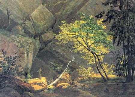 Karl Eduard Blechen - Rocky Landscape with a Monk