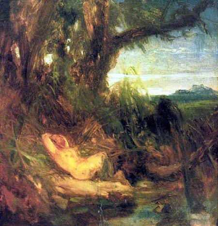 Karl Eduard Blechen - Faune endormi dans les roseaux