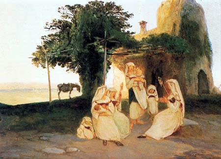 Karl Eduard Blechen - Fileuses à Cervara