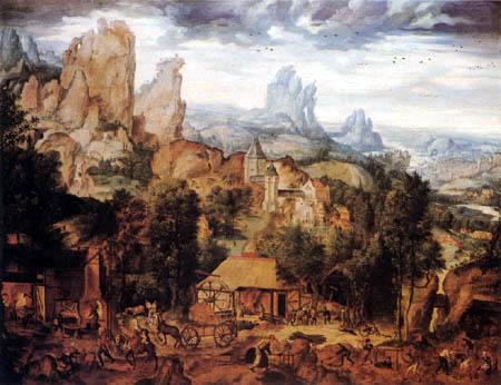 Herri met de Bles - Landschaft mit Eisenwerk, Hammerschmiede