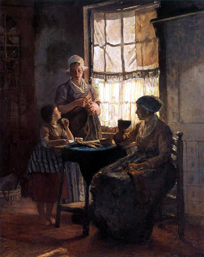 Bernardus Johannes Blommers - At the Kitchen Table