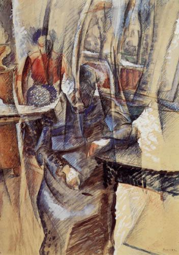 Umberto (Humberto) Boccioni - Interieur mit zwei weiblichen Figuren