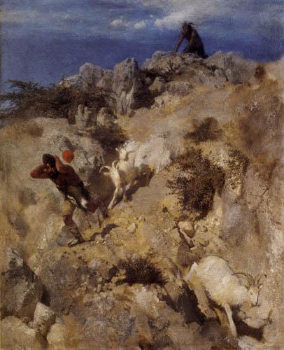 Arnold Böcklin - Pan verfolgt den Hirten