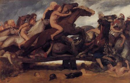Arnold Böcklin - Fight on a bridge