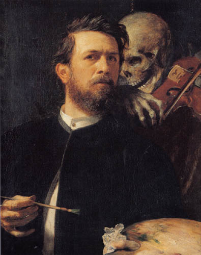 Arnold Böcklin - Selfportrait with the death