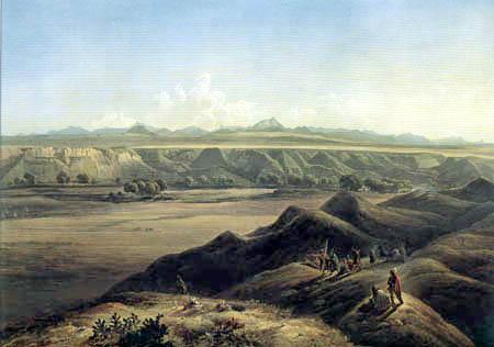 Karl Bodmer - Blick auf die Rocky Mountains