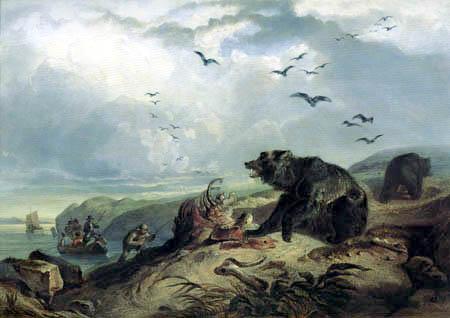 Karl Bodmer - Die Jagd auf den Grizzlybär