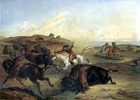 Karl Bodmer - Indianer auf Bisonjagd