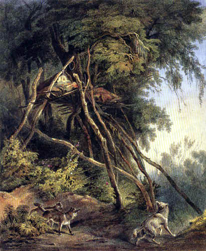 Karl Bodmer - Tombs of Assiniboin Indians on Trees
