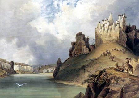Karl Bodmer - Blick auf die Mauerreste am oberen Missouri