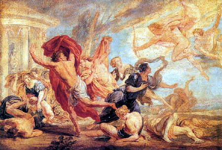 Jan Boeckhorst - Apollo and Athene Slaughtering the Children of Niobe
