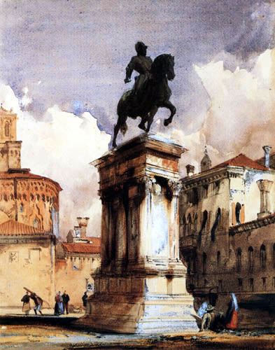 Richard Parkes Bonington - Statue von Colleoni in Venedig