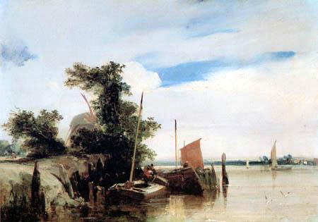 Richard Parkes Bonington - River landscape