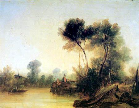 Richard Parkes Bonington - The riverbank of the Seine