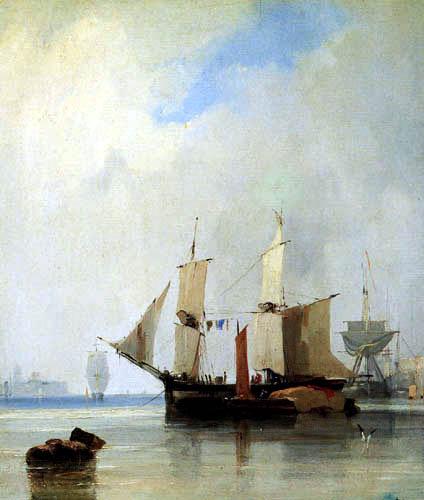 Richard Parkes Bonington - Segelschiffe vor Anker
