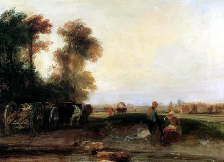 Richard Parkes Bonington - Paysage avec des voitures de bois