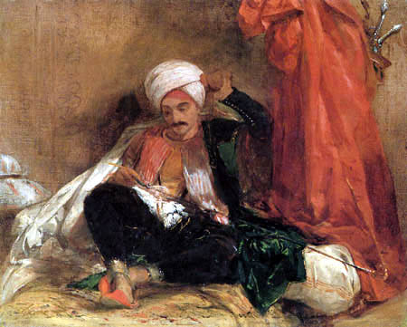 Richard Parkes Bonington - A seated Turk