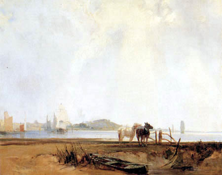 Richard Parkes Bonington - In der Nähe von Quillebœuf