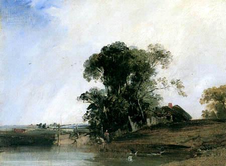 Richard Parkes Bonington - Paysage avec un étang