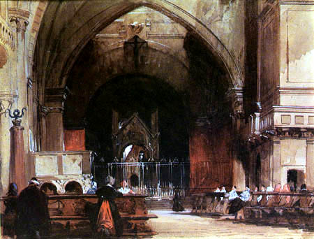 Richard Parkes Bonington - Interior of St. Ambrogio, Milan