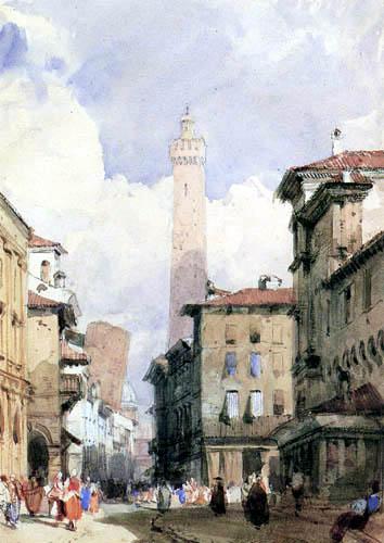 Richard Parkes Bonington - The inclined towers in Bologna