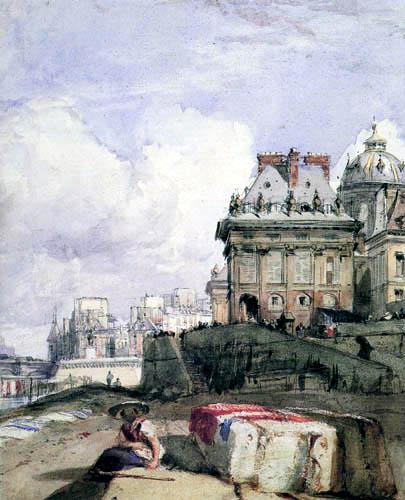 Richard Parkes Bonington - Institut look from the dock, Paris