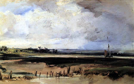 Richard Parkes Bonington - River mouth with sailboat