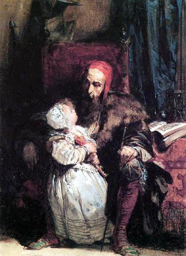 Richard Parkes Bonington - Alter Mann mit Kind
