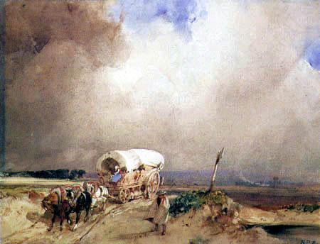 Richard Parkes Bonington - Paysage orageux avec des wagons couverts