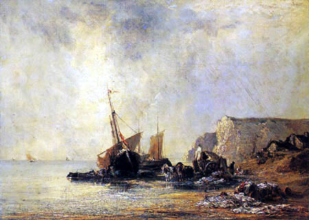 Richard Parkes Bonington - Boats by the Shores of Normandy